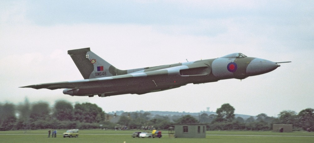 XM648 of 101 Squadron at very low level in the wrap around camouflage scheme introduced in the late 1970s. (VRT Collection)