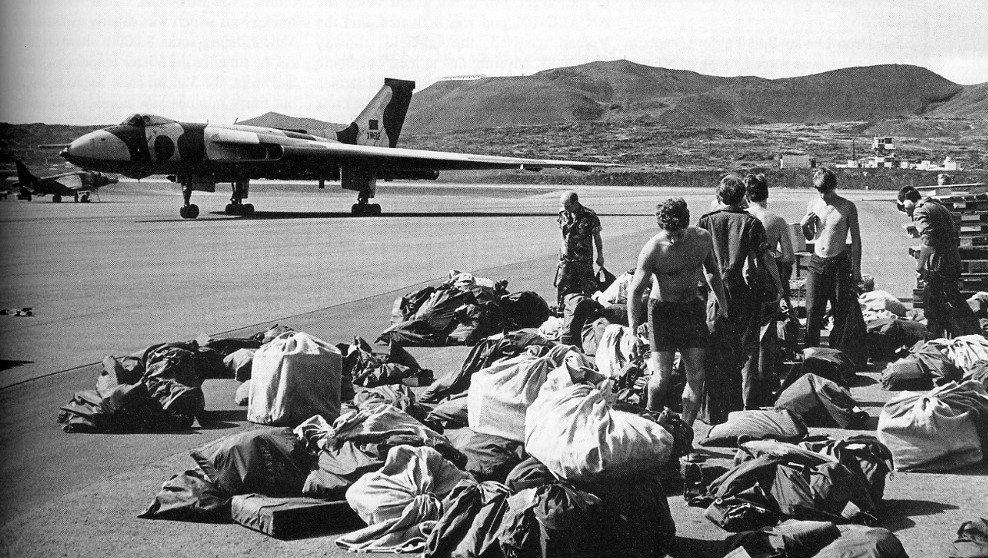 Vulcan B2 XM612 was a reserve aircraft for Black Buck and is seen here at Wideawake Airfield on Ascension Island. (Crown Copyright)