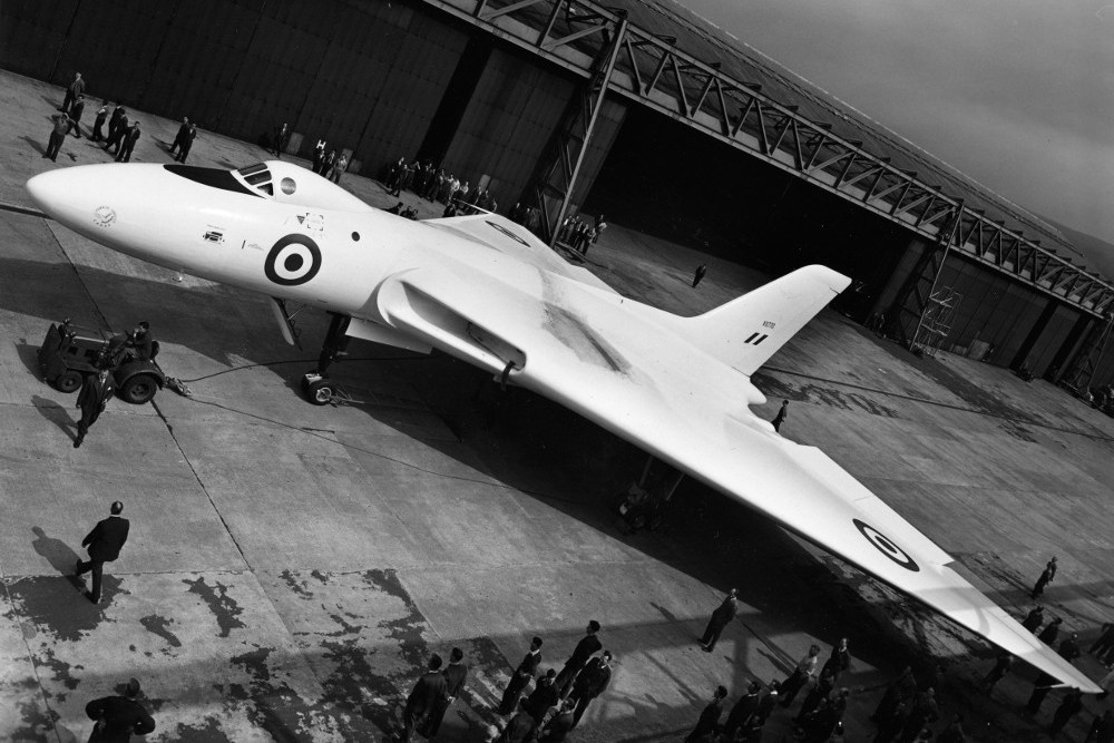The first Vulcan prototype VX770 shortly after roll-out at Woodford, Cheshire. (Avro)