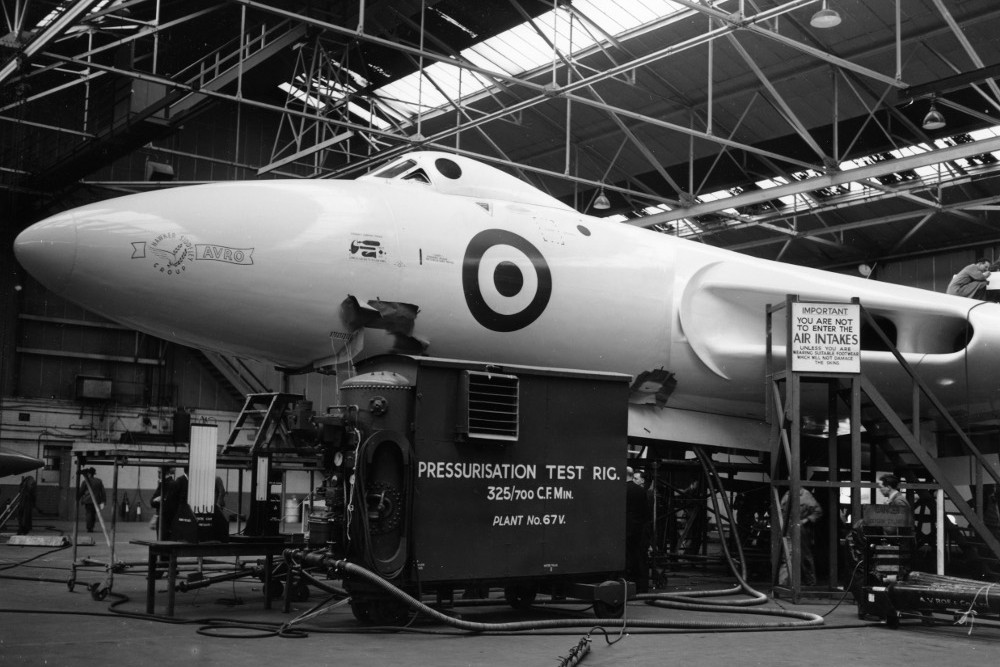 Second Vulcan prototype VX777 in the Woodford assembly sheds. (Avro)