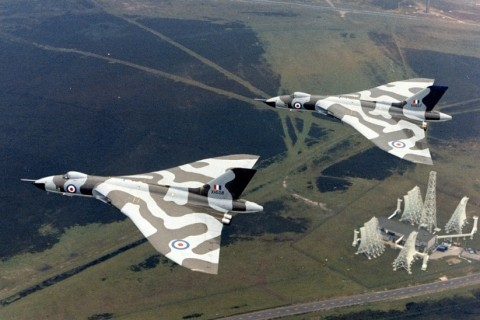 XH557 and XH558 show off their new camouflage scheme over the Ballistic Missile Early Warning station at RAF Fylingdales on the North York Moors. (Crown Copyright)