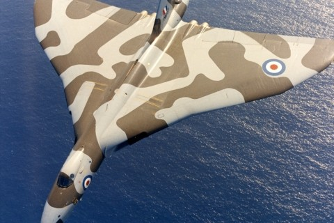 XM647 of the Near East Air Force Bomber Wing, RAF Akrotiri, off the coast of Cyprus in the 1970s. (Crown Copyright)