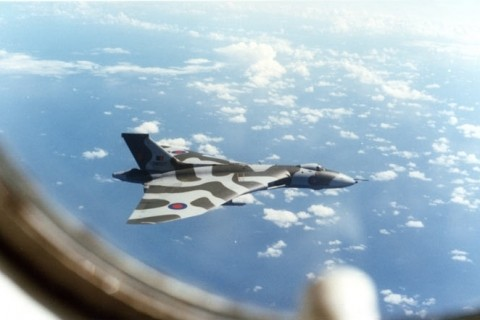Vulcan B2 XM607 off the coast of Brazil on the return leg of Black Buck 2 photographed from a 57 Squadron Victor tanker. (Norman Curtis-Christie)