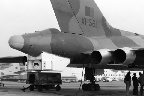 The Hose Drum Unit (HDU) fitted to the B2(K) wasn't the best looking modification made to the Vulcan. (Crown Copyright)